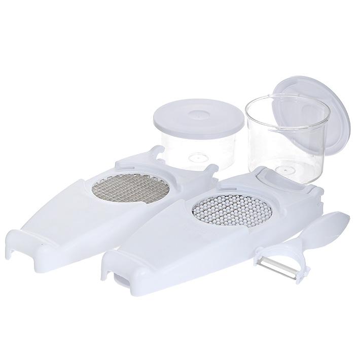 Овощерезка Bradex Винегрет, цвет: белыйTD 0001Овощерезка Bradex Винегрет состоит из двух прозрачных контейнеров с крышками, двух секций с ножом для крупных и мелких кубиков, платформы-базы с решеткой. В комплект также входит нож для чистки кожицы овощей. Предметы набора выполнены из прочного пластика, лезвия - из высококачественной нержавеющей стали. Овощерезка очень проста в использовании: установите лезвия, поместите овощ на середину платформы плоской стороной вниз и обеими руками надавите сверху на поверхность овощерезки. Овощерезка создана для того, чтобы покрошить мягкий сыр, репчатый лук, зелень, вареные яйца, сочные фрукты, вареные овощи и т.д. При этом ваши пальцы не будут касаться решетки при нарезании, что делает процесс безопасным, а наличие контейнера сохранит порядок на кухне, не допуская рассыпания продуктов. Прилагаемые крышки и контейнер могут использоваться для хранения нарезанных продуктов, чтобы сохранялась их свежесть. Овощерезка ровными ломтиками и кусочками нарежет все ингредиенты, необходимые для приготовления вашего любимого салата, рагу или омлета, гораздо быстрее и аккуратнее, чем обычный кухонный нож. Характеристики:Материал: пластик, нержавеющая сталь. Размер платформы-базы: 29,5 см х 10,5 см х 3,5 см. Диаметр режущей насадки: 9 см. Длина ножа для чистки кожицы: 15,5 см. Размер малого контейнера (с учетом крышки): 11,5 см х 11,5 см х 6,5 см. Размер большого контейнера (с учетом крышки): 11,5 см х 11,5 см х 8,5 см. Размер упаковки: 15,5 см х 11,5 см х 30,5 см. Артикул: TD 0001.