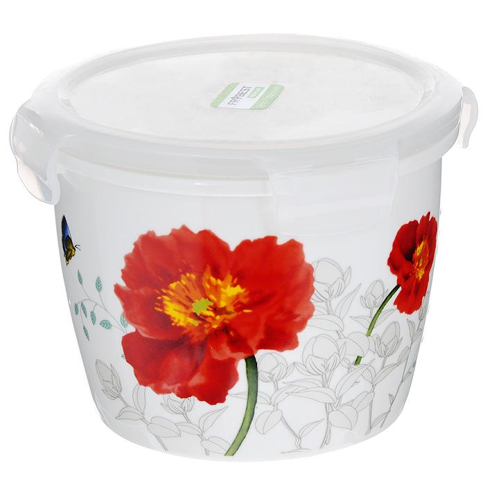 Контейнер для продуктов Frybest фарфоровый, круглый, 950 млMAK-095Круглый контейнер для продуктов Frybest выполнен из высококачественного фарфора белого цвета и украшен цветочным рисунком. Контейнер оснащен удобной крышкой из прозрачного пластика, которая плотно закрывается на 4 защелки. Основные преимущества: - экологичность (не содержит вредных и ядовитых материалов); - герметичность (превосходная герметичность позволяет сохранить свежесть продуктов); - чистота и гигиеничность (цвет материала не блекнет со временем, покрытие не впитывает запах); - утонченный европейский дизайн (прекрасное украшение стола); - удобство использования (подходит для мытья в посудомоечной машине, хранения в холодильной и морозильной камере). Характеристики:Материал: пластик, фарфор. Объем: 950 мл. Диаметр контейнера: 14 см. Высота (без учета крышки): 10 см. Высота (с учетом крышки): 11,5 см. Размер упаковки: 16 см х 15 см х 12 см. Артикул: MAK-095.
