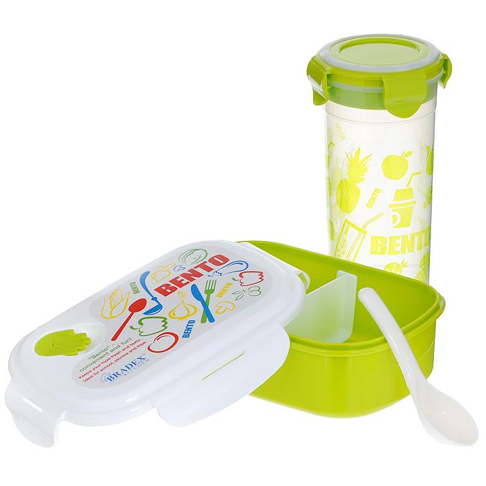 Набор детский Bradex Bento Kids, 2 предмета. TK 0051TK 0051Детский набор Bradex Bento Kids состоит из ланч-бокса и стакана, что делает его идеальным комплектом для школьников. Двухсекционный ланч-бокс предназначен для завтраков, обедов, полдников, печенья, фруктов, орехов и прочих закусок, а высокий стакан с крышкой - для сока, чая и других напитков. Ланч-бокс и стакан имеют герметичную конструкцию, благодаря чему из них ничего не прольется. Оба предмета из набора пригодны для мытья в посудомоечной машине, а ланч-бокс можно разогревать в микроволновой печи. В комплекте имеется ложечка. Bento Kids понравится ребенку своей красочной расцветкой, а родители по достоинству оценят его практичность, многофункциональность и легкий уход. Характеристики: Материал: АБС-пластик. Цвет: белый, зеленый. Объем ланч-бокса: 500 мл.Размер ланч-бокса (без учета крышки): 18,5 см х 12,5 см х 5,5 см. Объем стакана: 600 мл. Диаметр стакана: 8 см. Высота стакана: 18 см. Длина ложки: 12 см. Размер упаковки: 20,5 см х 19,5 см х 9 см. Артикул: TK 0051.