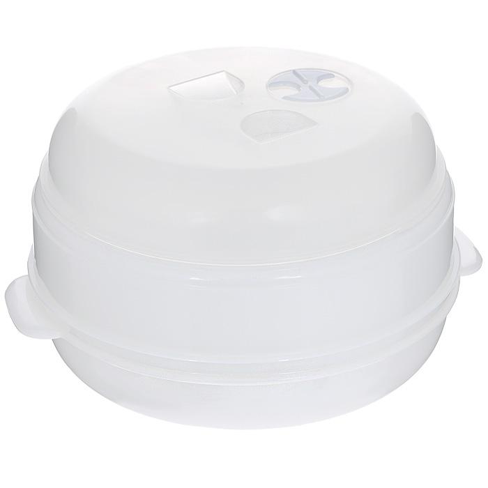Пароварка для СВЧ Bradex Вкус и польза, двухуровневая , цвет: белыйTK 0004Двухуровневая пароварка Bradex Вкус и польза, выполненная из пластика белого цвета, предназначена для приготовления пищи в микроволновой печи. Пища, приготовленная в такой пароварке, сохраняет все полезные микроэлементы и витамины, не теряет цвет и свой аппетитный аромат. Для приготовления вкусного и полезного блюда при помощи пароварки для СВЧ вам потребуется 15-20 минут, а наличие двух уровней для продуктов позволяет готовить основное блюдо и гарнир одновременно. Легкая конструкция пароварки, качество материала обеспечивают простоту в использовании и уходе за ней. Характеристики: Материал: пластик. Цвет: белый. Диаметр пароварки: 22,5 см. Высота (с учетом крышки): 17 см. Размер упаковки: 23,5 см х 10 см х 23 см. Артикул: TK 0004.