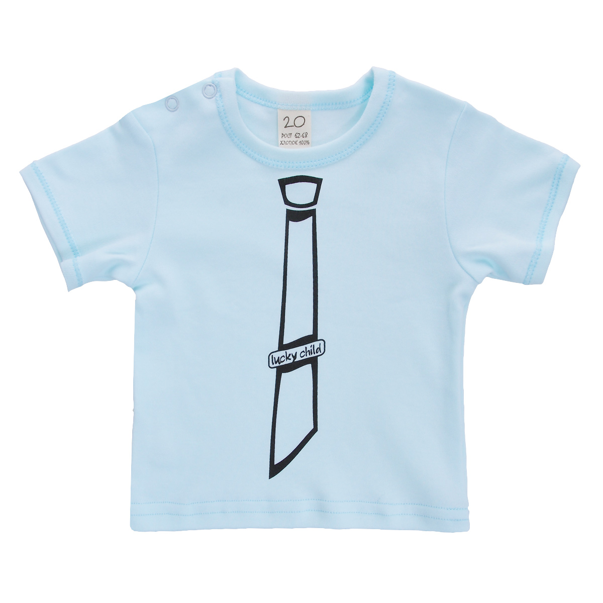 Футболка для мальчика Lucky Child, цвет: голубой. 3-26к. Размер 86/923-26кОчаровательная футболка для мальчика Lucky Child послужит идеальным дополнением к гардеробу вашего малыша, обеспечивая ему наибольший комфорт. Изготовленная из натурального хлопка, она необычайно мягкая и легкая, не раздражает нежную кожу ребенка и хорошо вентилируется, а эластичные швы приятны телу малыша и не препятствуют его движениям. Футболка с короткими рукавами и круглым врезом горловины имеет кнопки по плечу, которые позволяют без труда переодеть ребенка. На груди она оформлена оригинальным печатным рисунком в виде галстука. Футболка полностью соответствует особенностям жизни ребенка в ранний период, не стесняя и не ограничивая его в движениях.