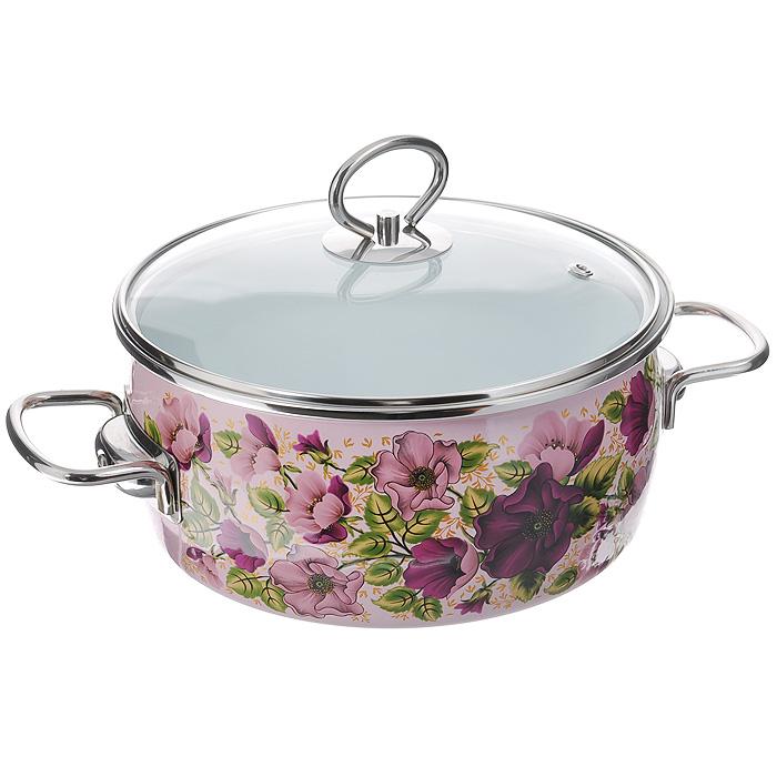 Кастрюля эмалированная Vitross Violeta с крышкой, цвет: розовый, 3 л8SA205S Violeta розоваяЭмалированная кастрюля Vitross Violeta выполнена из нержавеющей стали со стеклокерамическим покрытием - наиболее безопасным видом покрытий посуды. Стеклокерамика инертна и устойчива к пищевым кислотам, не вступает во взаимодействие с продуктами и не искажает их вкусовые качества. Прочный стальной корпус обеспечивает эффективную тепловую обработку и не деформируется в процессе эксплуатации. Такая кастрюля идеальна для тепловой обработки и хранения пищевых продуктов, приготовления холодных блюд и сервировки стола. Внутренняя поверхность изделия - белого цвета. Внешняя поверхность розового цвета оформлена красочными цветочными узорами.Кастрюля оснащена стеклянной крышкой с металлическим ободом и пароотводом, а также удобными стальными ручками. Подходит для всех типов плит, включая индукционные. Пригодна для посудомоечной машины. Характеристики: Материал: нержавеющая сталь, стекло, эмаль. Цвет: розовый. Объем кастрюли: 3 л. Внутренний диаметр кастрюли: 20 см. Высота стенок кастрюли: 10,3 см. Толщина стенок кастрюли: 0,3 см. Толщина дна кастрюли: 0,4 см. Ширина кастрюли с учетом ручек: 29,5 см. Размер упаковки: 26 см х 12 см х 23 см. Артикул: 8SA205S.