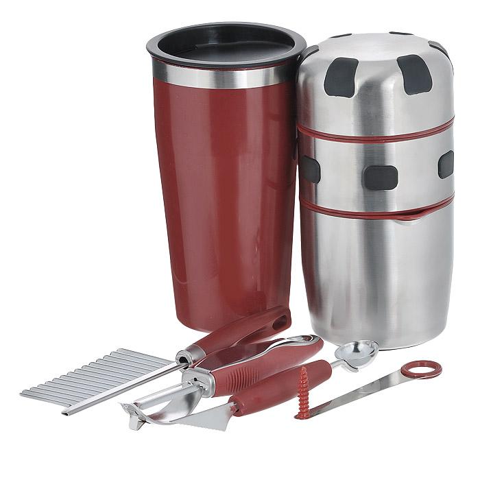 Соковыжималка ручная Bradex РадугаTD 0058Набор Bradex Радуга включает в себя: ручную соковыжималку, шейкер, нож с зубчатым лезвием, нож для вырезания шариков, нож спиральный, нож для очистки кожуры с ножом для нарезки углублений и инструкцию на русском языке. Предметы набора выполнены из высококачественной нержавеющей стали и пластика. С соковыжималкой Bradex Радуга вы приготовите свежевыжатые соки практически из всех фруктов, овощей, плодов и ягод. Вам не понадобится даже удалять из ягод и плодов косточки - все зернышки и кожица останутся в крышке соковыжималки, а сок соберется в специальной емкости.В комплект к соковыжималке вы получаете шейкер с крышкой для питья и набор для декорирования коктейлей и блюд. Одним из плюсов ручной соковыжималки является то, что она работает не от батареек или электросети, поэтому позволяет готовить вкусные коктейли даже в условиях отдыха на природе.Размер соковыжималки: 9,5 см х 9,5 см х 18,5 см.Размер шейкера: 10 см х 10 см х 18 см.Размер ножа с зубчатым лезвием: 19 см х 5,5 см х 2 см.Размер ножа для вырезания шариков: 18,5 см х 2,5 см х 3 см.Размер спирального ножа: 12 см х 2,5 см х 3 см.Размер ножа для очистки кожуры с ножом для нарезки углублений: 17 см х 2,5 см х 2 см.