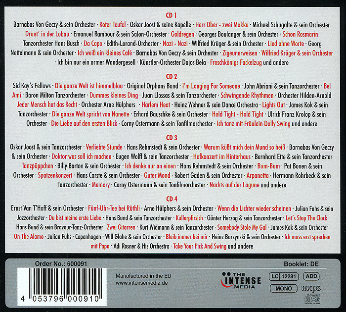 Swing Tanzen Verboten (4 CD) Intense Media Ltd.,Концерн