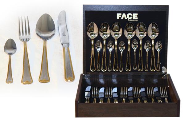 Набор столовых приборов 24 предмета на 6 персон Falperra Gold в деревянной коробке.F-FG/24-ALМатериал: Нержавеющая сталь. Цвет: серебряный, золотой. Серия: Falperra Gold. Размер товара: вилка - 6 шт., ст. ложка - 6 шт., чайная ложка - 6 шт., нож - 6 шт. Размер упаковки: 35х29х6.