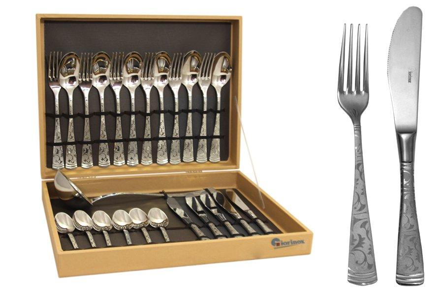 Набор столовых приборов из 25 предметовDubai ArgentoGI6600-25-ALМатериал: Нержавеющая сталь.Цвет: серебряный.Серия: Dubai. Размер товара: 6 вилок, 6 столовых ложек, 6 ножей, 6 чайных ложек, 1 половник.Размер упаковки: 37х29х8.