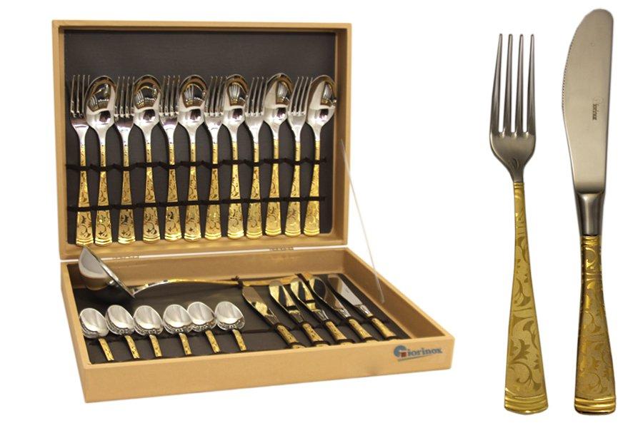 Набор столовых приборов из 51 предметаDubai OroGI6650-51-ALМатериал: Нержавеющая сталь.Цвет: серебряный, золотой.Серия: Dubai. Размер товара: 12 вилок, 12 столовых ложек, 12 ножей, 12 чайных ложек, 1 половник, 1 ложка для раскладки, 1 большая вилка.Размер упаковки: 60х35х8.