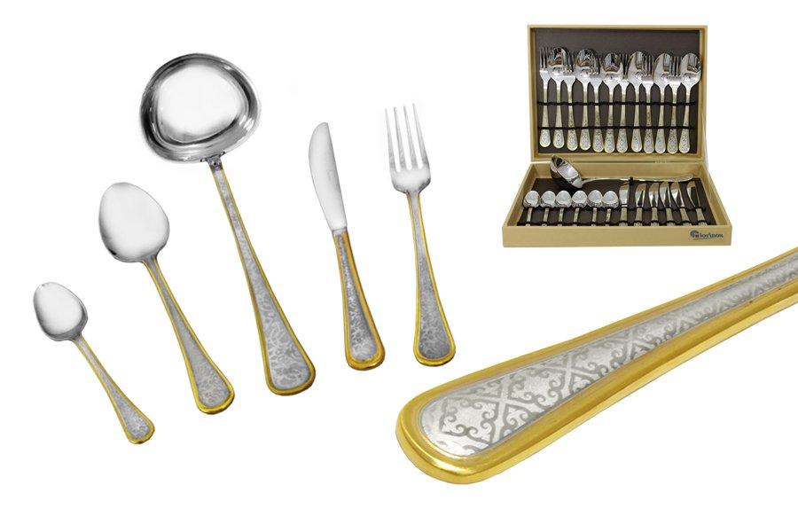 Набор столовых приборов из 25 предметовNainGI1950-25PALМатериал: Нержавеющая сталь. Цвет: серебряный, золотой. Серия: Nain. Размер товара: 6 вилок, 6 столовых ложек, 6 ножей, 6 чайных ложек, 1 половник. Размер упаковки: 37х29х8.