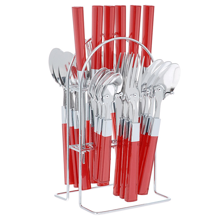 Набор столовых приборов Mayer&Boch, цвет: красный, 25 предметов. 20686-120686-1 красныйНабор столовых приборов Mayer & Boch выполнен из прочной полированной нержавеющей стали и высококачественного пластика. В набор входят 6 столовых ложек, 6 вилок, 6 чайных ложек и 6 ножей. Приборы имеют оригинальные удобные ручки с пластиковыми вставками красного цвета. Прекрасное сочетание яркого дизайна и удобства использования предметов набора придется по душе каждому. Изделия расположены на металлической подставке, что удобно для хранения набора прямо на столе или столешнице. Набор столовых приборов Mayer & Boch подойдет как для ежедневного использования, так и для торжественных случаев.Характеристики:Материал: нержавеющая сталь, пластик. Цвет: красный. Длина ножа: 22,5 см. Длина столовой ложки: 20 см. Длина вилки: 21 см. Длина чайной ложки: 16 см. Размер подставки (ДхШхВ): 12,5 см x 12 см x 23 см. Размер упаковки: 15 см x 13,5 см x 28 см. Артикул: 20686-1 .