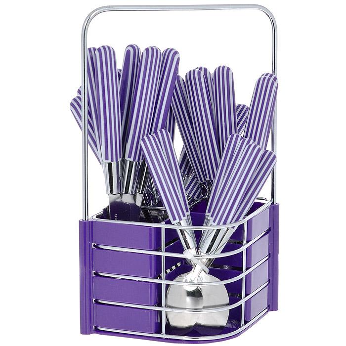 Набор столовых приборов Mayer&Boch, цвет: фиолетовый, 25 предметов. MN23240MN23240 фиолетовыйНабор столовых приборов Mayer & Boch выполнен из прочной нержавеющей стали. В набор входит 25 предметов: 6 обеденных ножей, 6 обеденных ложек, 6 обеденных вилок и 6 чайных ложек и подставка. Приборы имеют оригинальные удобные ручки с пластиковыми вставками в фиолетово-белую полоску. Прекрасное сочетание свежего дизайна и удобство использования предметов набора придется по душе каждому. Предметы набора расположены на подставке из стали и пластика с четырьмя секциями для каждого вида приборов. Подставка оснащена удобной ручкой для переноски.Набор столовых приборов Mayer & Boch подойдет для сервировки стола, как дома, так и на даче и всегда будет важной частью трапезы, а также станет замечательным подарком. Характеристики:Материал: нержавеющая сталь #410, пластик. Цвет: фиолетовый. Длина ножа: 22,5 см. Длина столовой ложки: 21 см. Длина вилки: 21 см. Длина чайной ложки: 16,5 см. Размер подставки (Д х Ш х В): 17,5 см x 13 см x 26 см.