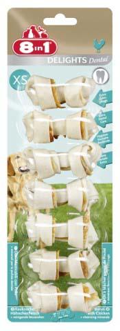 Лакомство 8 in 1 Dental Delights XS для собак мелких пород, косточки для чистки зубов, 7 шт, 84г1025958 in 1 Dental Delights XS - уникальное запатентованное лакомство с качественным куриныммясом,завернутое в жесткую оболочку из сыромятной кожи.Полезно для зубов и десен. Удовлетворяет природный жевательный инстинкт собаки.Долгое жевательное удовольствие и никаких остатков. Изготавливается с учетомразмеровсобаки. Обогащено полезными минералами. Dental Delights XS помогают удалить зубнойналет, предотвращая образование зубного камня и способствуя свежему дыханию.Содержитвсего 2% жира. Не содержит искусственных красителей и усилителей вкуса и аромата.Состав: мясо и мясные субпродукты (куриное мясо 9%), минеральные вещества.Аналитические компоненты: сырой белок - 82%, сырые масла и жиры - 2%, сыраяклетчатка - 1%, сырая зола - 2%, содержание влаги - 14%.Вес: 84 г.Средний размер косточки: 2,5 см х 6 см.Комплектация: 7 шт.Товар сертифицирован.