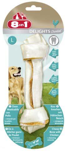 Лакомство 8 in 1 Dental Delights L для собак крупных пород, косточка для чистки зубов, 100 г1026878 in 1 Dental Delights L - уникальное запатентованное лакомство с качественным куриным мясом, завернутое в жесткую оболочку из сыромятной кожи. Полезно для зубов и десен. Удовлетворяет природный жевательный инстинкт собаки. Долгое жевательное удовольствие и никаких остатков. Изготавливается с учетом размеров собаки. Обогащено полезными минералами. Dental Delights M помогает удалить зубной налет, предотвращая образование зубного камня и способствуя свежему дыханию. Содержит всего 2% жира. Не содержит искусственных красителей и усилителей вкуса и аромата. Состав: мясо и мясные субпродукты (куриное мясо 10%), минеральные вещества. Аналитические компоненты: сырой белок - 82%, сырые масла и жиры - 2%, сыраяклетчатка - 1%, сырая зола - 2%, содержание влаги - 14%.Вес: 100 г. Размер косточки: 5 см х 20 см.Товар сертифицирован.
