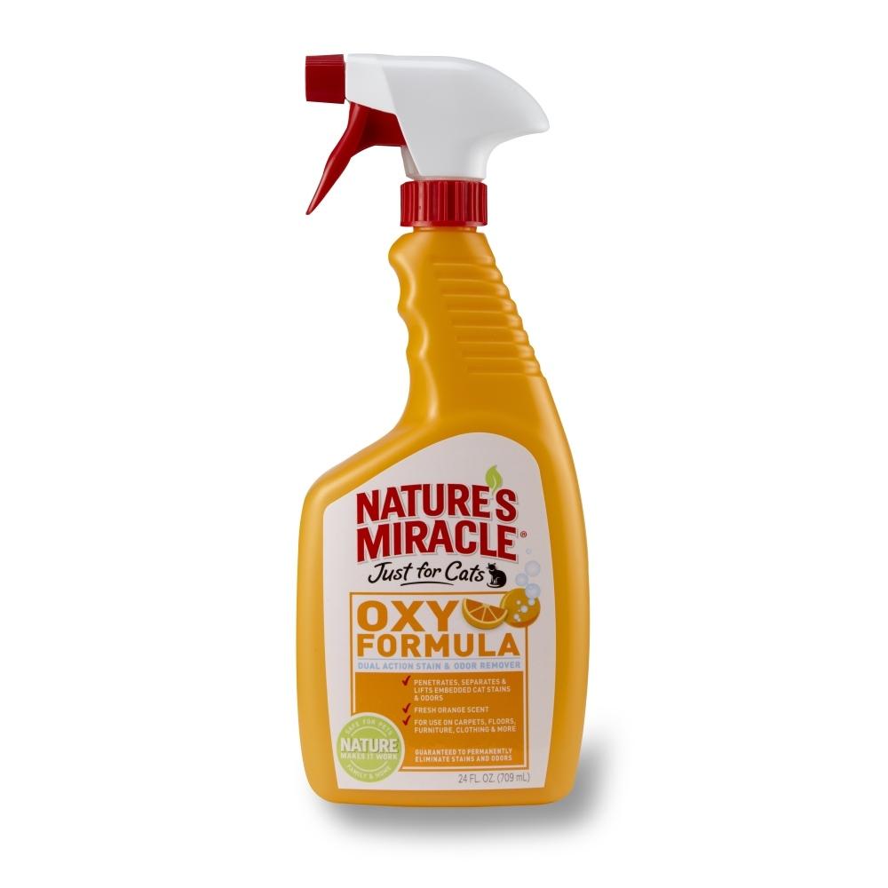 Уничтожитель запахов кошачьих меток и мочи 8 in 1 Natures Miracle. Orange-Oxy, 710 мл5051615Уничтожитель запахов 8 in 1 Natures Miracle. Orange-Oxy - это быстродействующая, насыщенная кислородом формула двойного действия, вытягивающая и уничтожающая въевшиеся пятна и запахи, в том числе от мочи, фекалий животных, грязи, крови и т.д. Безопасный и натуральный ароматизатор устраняет неприятные запахи, оставляя после себя чистый, свежий цитрусовый аромат. Используйте уничтожитель запахов и пятен на коврах, обивке, одежде, одеялах и подстилке вашего питомца. Применение: Перед использованием: - протестируйте поверхность на цветоустойчивость; - используйте в исходной концентрации, не разводить; - всегда применяйте средство первым, другие пятновыводители могут химически зафиксировать пятно, и его будет невозможно удалить; - перед применением хорошо встряхнуть. Для удаления пятен и устранения неприятных запахов - удалить остатки жидкости и грязь, обильно нанести на загрязненную поверхность средство, подождать 5 минут, вытереть салфеткой. Не подпускать животных к обработанной области до ее полного высыхания. Для трудно выводимых пятен используйте жесткую щетку, оставьте средство на 1 час и вытрите поверхность салфеткой. Для устранения стойких запахов пропитать все слои ткани и обработать место под коврами. Для использования при стирке: пропитайте загрязненную область средством, затем постирайте ткань, как обычно.Внимание! При применении в соответствии с инструкцией безопасен для использования вблизи детей и животных. Состав:Вода, концентрат кислорода, экстракт апельсина, ароматизатор.Товар сертифицирован.