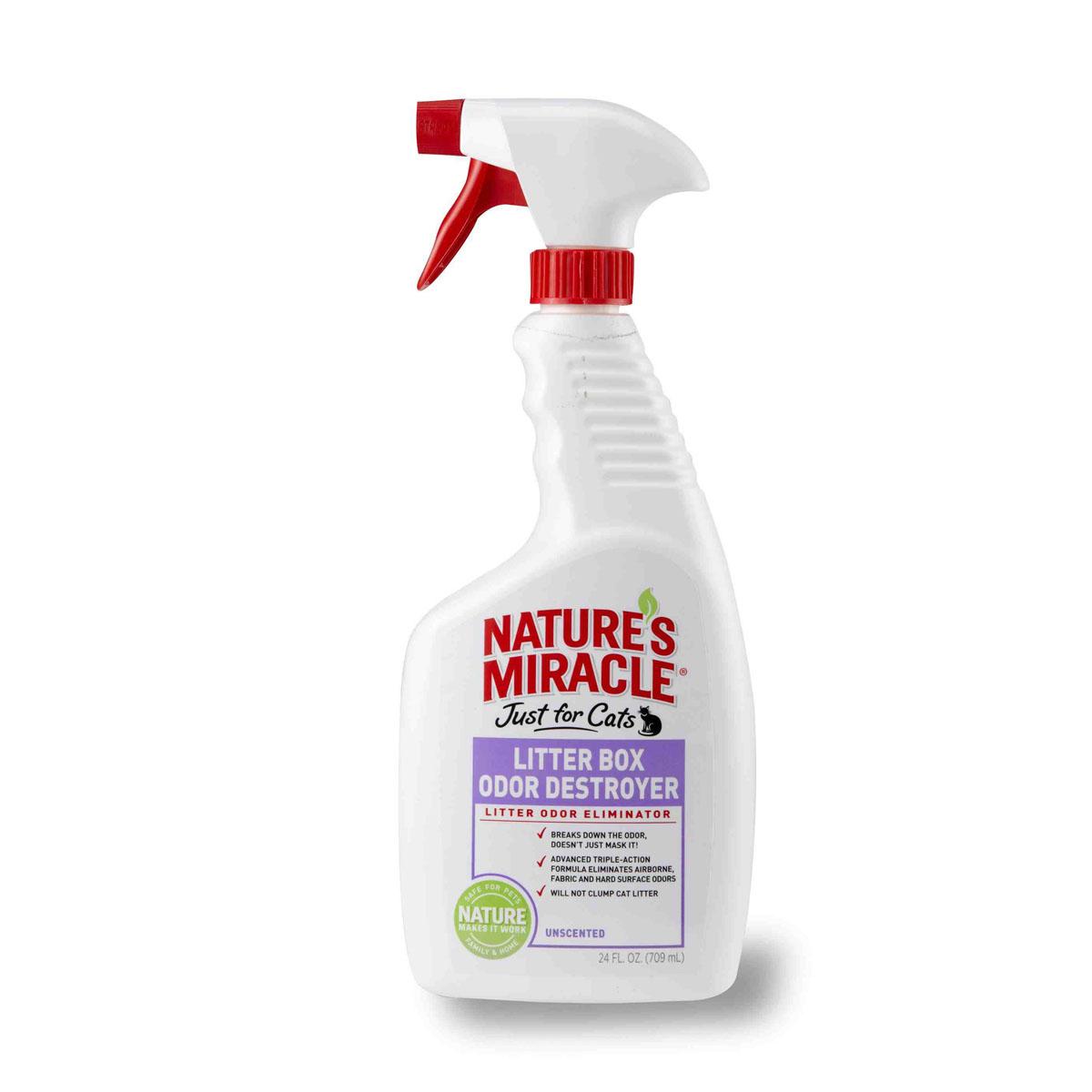 Спрей 8 in 1 Natures Miracle, для устранения запаха кошачьего туалета, 709 млMB05-01310Спрей 8 in 1 Natures Miracle нейтрализует резкие запахи в кошачьем туалете, в воздухе, натканях и твердых поверхностях! Технология захвата запахов начинает устранять даже самыестойкие запахи туалета сразу после контакта с ними. Безопасен для использования с любыминаполнителями и на любых поверхностях. Другие уничтожители неприятного запаха толькомаскируют запах от первоисточника, в то время как инновационная формула спрея вступаетв контакт с неприятными запахами, устраняя их с любой поверхности. Не содержитароматизаторов и не раздражает кошек. Может использоваться с любыми наполнителями, некомкует наполнители. Распылите средство в воздухе или в туалет животного, на егоподстилку, клетки, диваны, ковры или любое другое место, которое посещает ваша кошка!При правильном применении безопасен для использования вблизи детей и животных.Способ применения: Устранение запахов в кошачьем туалете: обильно распылите в кошачьем туалете после использования кошкой. Устранение запахов в воздухе: Обильно распылите в воздухе. Устранение запахов с тканей:1) Перед использованием обязательно протестируйте поверхность на цветоустойчивость. 2) Равномерно распылите средство на поверхность ткани, чтобы она стала немного влажной. 3) Не рекомендуется использовать на коже и шелке. Удаление запахов с твердых поверхностей:1) Равномерно распылите средство на обрабатываемую поверхность, чтобы она стала немного влажной.2) Вытрите излишки тканью.Состав: вода, натуральные ферменты, изопропиловый спирт, натуральный цитрусовый ароматизатор. Товар сертифицирован. .