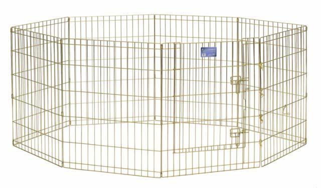 Вольер для животных Midwest, цвет: золотой, 61 см х 76 см542-30Комфортный вольер Midwest для животных с 8 панелями - это лучший выбор для тех, кто заботится об уюте и безопасности своего питомца. Дверь вольера оснащена крепким двойным замком, что исключает случайное открытие. В комплект также входят угловые усилители, которые поддерживают конфигурацию ограждения и добавляют конструкции вес, чтобы животное не могло ее перевернуть. Специальное акриловое покрытие Acri-Lock золотистым цинком, нанесенное на вольер, продляет срок эксплуатации клетки. Вольер легко переносится и просто складывается для удобного хранения, не требуется никаких инструментов или дополнительных деталей.Размер одной секции (ШхВ): 61 см х 76 см. Вес конструкции: 11,3 кг.Товар сертифицирован.