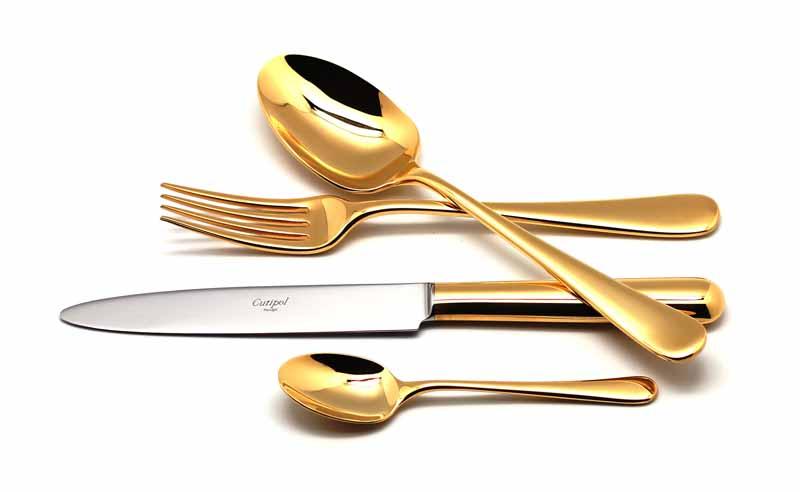 Набор столовых приборов Cutipol Atlantico Gold, цвет: золотой, 24 предмета. 92019201Набор столовых приборов Atlantico Gold от компании Cutipol. Набор выполнен из сплава нержавеющей стали 18% хрома и 10% никеля с покрытием из золота. Позолоченные приборы подчеркнут ваш стиль и аристократический вкус. Эти стильные столовые приборы станут настоящей изюминкой в сервировке вашего стола. Красивые вилки, ложки, ножи и другие приборы, представленные в наборе, оформлены в современном стиле. Любой обед станет настоящим торжеством, если на столе будут эти изящные, со вкусом выполненные приборы. Толщина приборов - 3.5 мм. Можно мыть в посудомоечной машине. В набор входит:-ложки столовые - 6 шт;-вилки столовые - 6 шт;-ножи столовые - 6 шт;-ложки чайные - 6 шт.