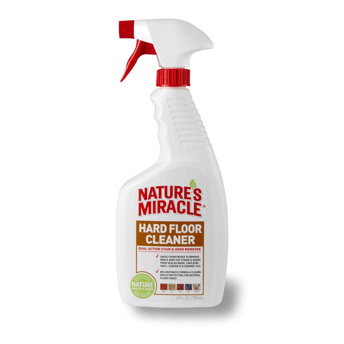 Уничтожитель пятен и запахов для всех видов полов 8 in 1 Natures Miracle, 709 мл5055538Уничтожитель пятен и запахов для всех видов полов 8 in 1 Natures Miracle специально разработан для безопасного удаления с твердых поверхностей пятен и запахов от фекалий, мочи, жира, рвоты и других свежих и въевшихся органических загрязнений за счет био-энзимной чистящей формулы. Благодаря специальной технологии Finish-Protect, средство осуществляет глубокую очистку, защищая при этом покрытие пола, будь то дерево, керамическая плитка, винил или линолеум. Уничтожитель пятен и запахов для всех видов полов можно также использовать на твердых поверхностях, переносках, спальных местах животных и в кошачьих туалетах. Средство идеально справляется с пятнами и запахами, оставленными собаками, кошками и другими животными.Способ применения: 1) Перед применением хорошо встряхните. 2) Удалите излишнюю влажность и грязь.3) Перед использованием протестируйте средство на незаметной области. Вытрите поверхность тканью. Не используйте средство, если покрытие пола повредилось.4) Всегда используйте Уничтожитель пятен и запахов для всех видов полов в исходной концентрации. 5) Нанесите средство на обрабатываемую поверхность, вытрите. При необходимости повторить.6) Не требует смывания.Не использовать на сильно загрязненных, негерметизированных полах. Состав: вода, чистящие компоненты (поверхностно-активные вещества), биоэнзимная технология нейтрализации запаха, ароматизатор. Товар сертифицирован.