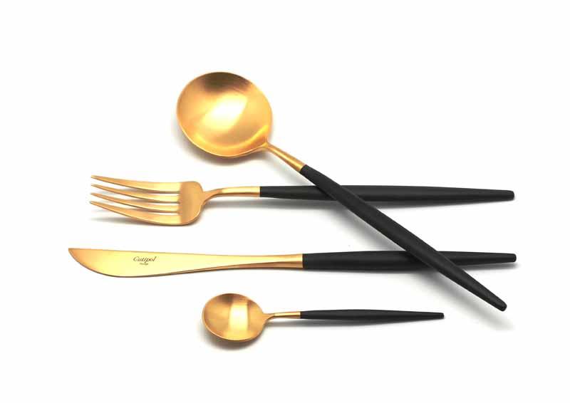 Набор столовых приборов Cutipol Goa Gold, цвет: золотой, черный, 24 предмета. 92629262Набор столовых приборов Goa Gold от компании Cutipol. Набор выполнен из сплава нержавеющей стали 18% хрома и 10% никеля с покрытием из золота 24 карата 0.7 микрон. Позолоченные приборы подчеркнут ваш стиль и аристократический вкус. Толщина приборов - 3.5 мм. Можно мыть в посудомоечной машине. Поставляется в специальном подарочном кейсе, выполненном из дерева, который в последствие может быть использован для хранения столовых приборов.В набор входит:-ложки столовые - 6 шт;-вилки столовые - 6 шт;-ножи столовые - 6 шт;-ложки чайные - 6 шт.