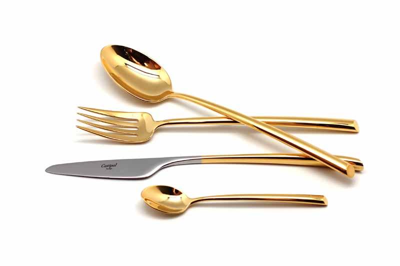 Набор столовых приборов Cutipol Mezzo Gold, цвет: золотой, 24 предмета. 93019301Набор столовых приборов Mezzo Gold от компании Cutipol. Набор выполнен из сплава нержавеющей стали 18% хрома и 10% никеля с покрытием иззолота. Позолоченные приборы подчеркнут ваш стиль и аристократический вкус. Эти стильные столовые приборы станут настоящей изюминкой всервировке вашего стола. Красивые вилки, ложки, ножи и другие приборы, представленные в наборе, оформлены в современном стиле. Любойобед станет настоящим торжеством, если на столе будут эти изящные, со вкусом выполненные приборы. Толщина приборов - 3.5 мм. Можно мытьв посудомоечной машине.Набор столовых приборов 24 предмета на 6 персон в подарочной коробке.- 6 столовых вилок- 6 столовых ложек- 6 чайных ложек- 6 столовых ножей