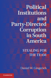 Political Institutions and Party-Directed Corruption in South America dimensions of state building