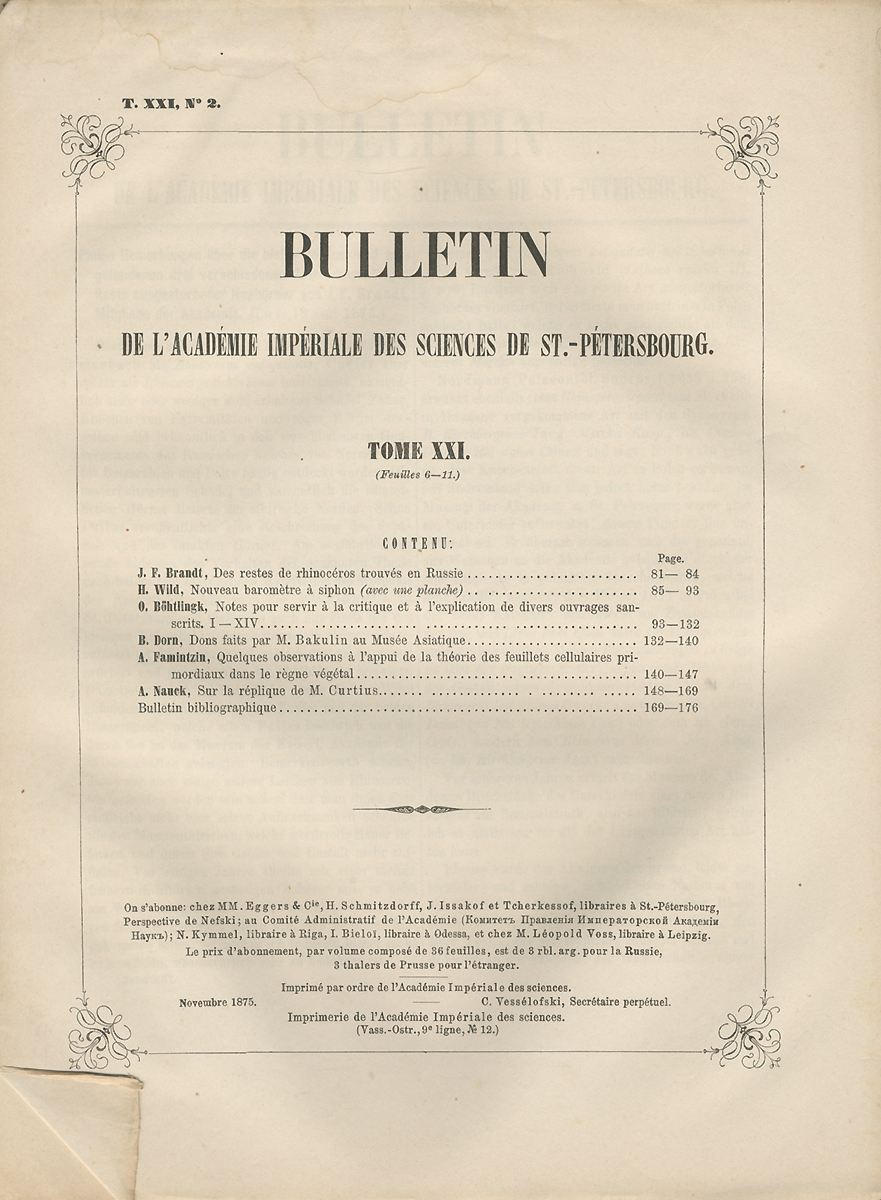 Bulletin de lAcademie Imperiale des Sciences St.-Petersbourg. Tome XXI, №2, 1875