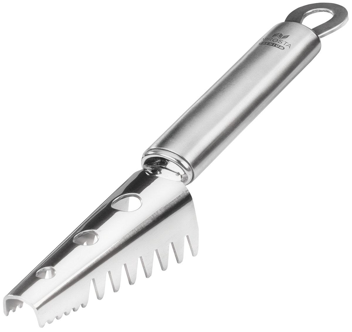 """Нож для чистки рыбы Fackelmann """"Nirosta"""" изготовлен из нержавеющей стали 18/10. Изделие оснащено специальными зубчиками, эффективно очищающими рыбу. Очистки не накапливаются внутри, а выходят через специальные отверстия. Удобная рукоятка обеспечивает комфорт при использовании. На рукоятке также имеется отверстие, за которое нож можно повесить в удобное для вас место. Можно мыть в посудомоечной машине.   Характеристики: Материал: нержавеющая сталь. Цвет: серебристый. Длина ножа: 20 см. Размер рабочей поверхности: 3,5 см х 7,5 см."""