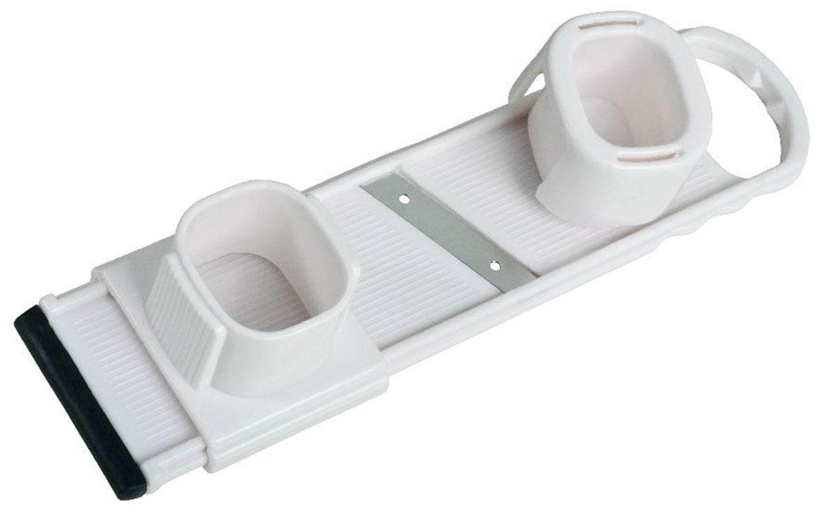 """Мини-терка """"Fackelmann"""" изготовлена из пластика белого цвета и оснащена лезвием из нержавеющей стали.   Терка предназначена для нарезания мелких овощей на тонкие дольки, а также для измельчения в """"стружку"""".   Прекрасно измельчает чеснок, редис и мелкую морковку. Держатель и специальный контейнер, предохраняют   руки от порезов.    Характеристики:   Материал: пластик, нержавеющая сталь. Размер терки: 5,5 см х 23 см."""