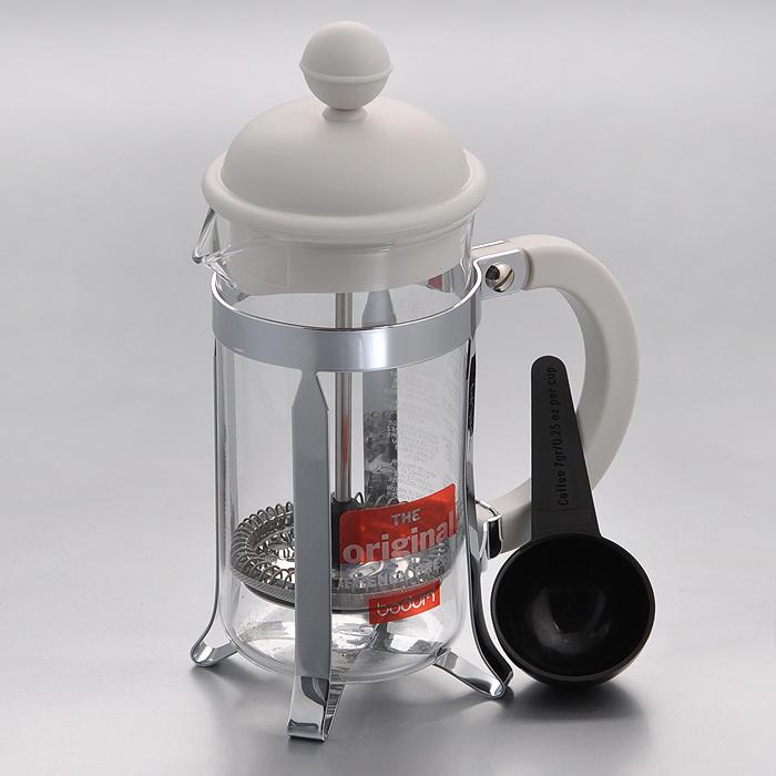 Кофейник Bodum Caffettiera с прессом, с ложечкой, цвет: белый, 0,35 л кофейник bodum brazil с прессом цвет белый 1 л