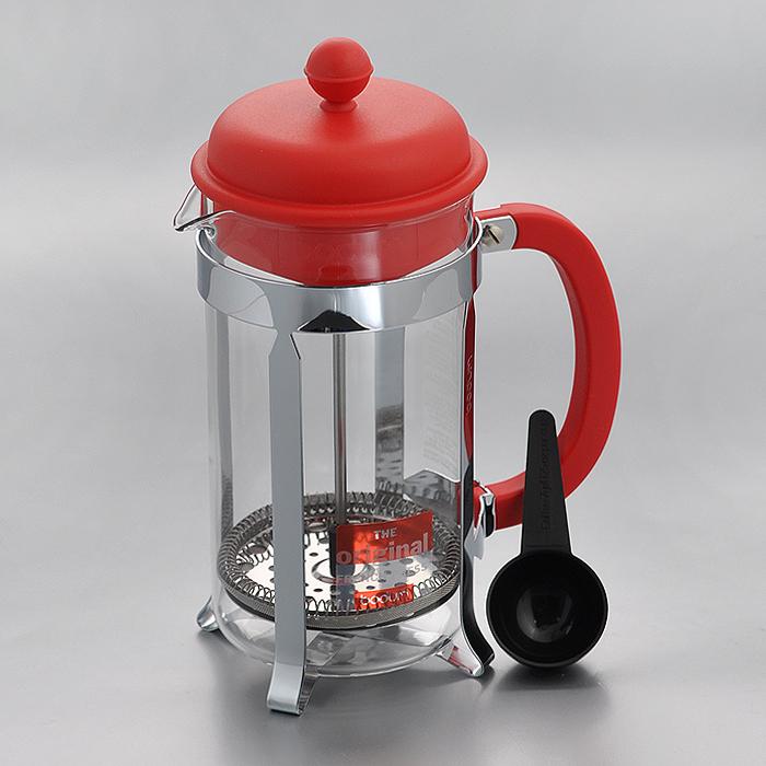 Кофейник Bodum Caffettiera с прессом, с ложечкой, цвет: красный, 1 л кофейник bodum brazil с прессом цвет белый 1 л