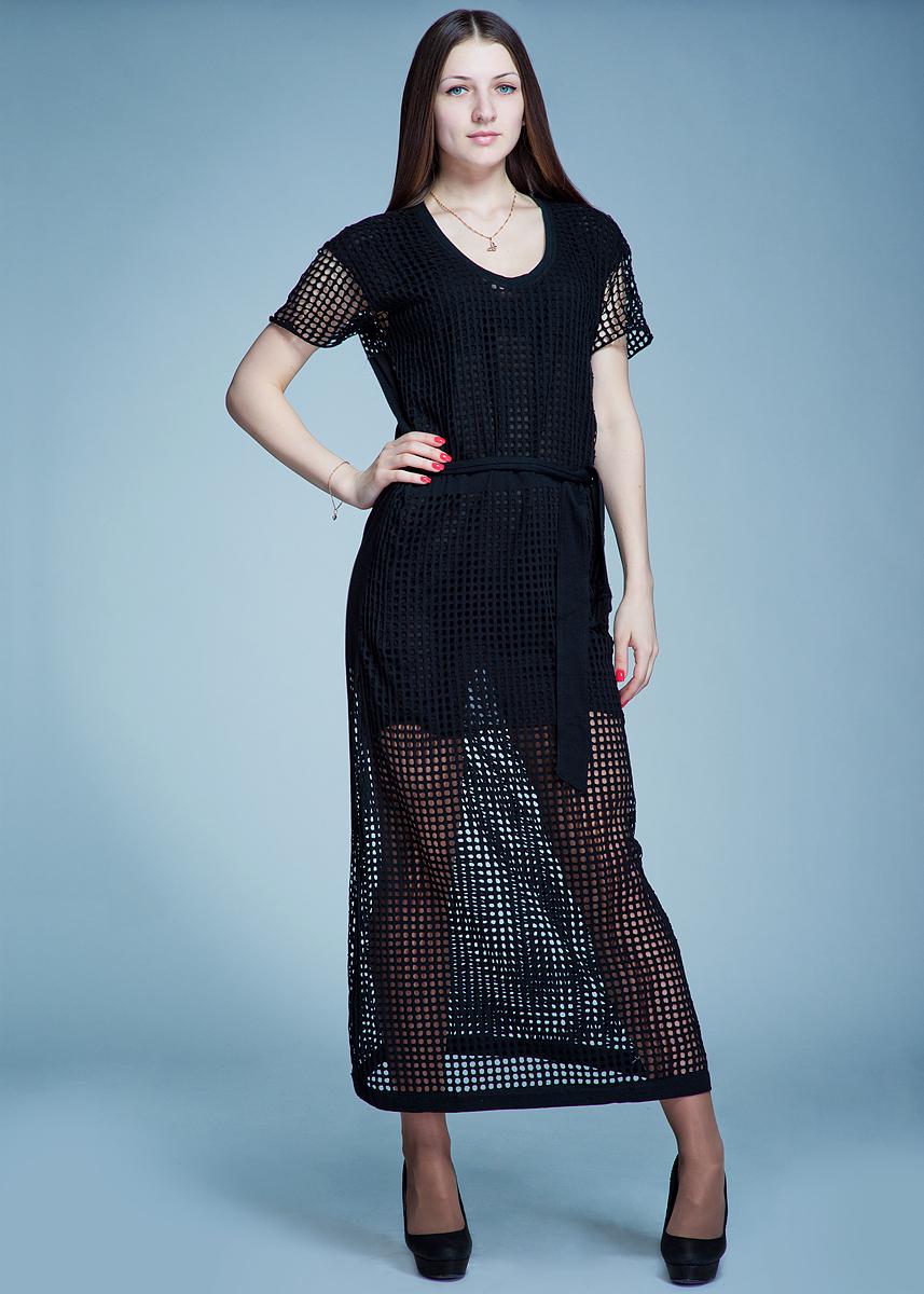 Платье Religion, цвет: черный. B114 SP D47. Размер S (44)B114 SP D47Стильное платье макси длины выполнено из хлопка и полиэстера и оформлено декоративной перфорацией. Модель приталенного силуэта с короткими рукавами и круглым вырезом горловины. На талии платье завязывается на пояс.В таком платье вы будете выглядеть эффектно и ярко.