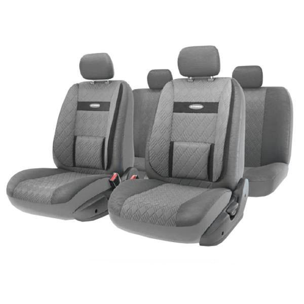 Набор авточехлов Autoprofi Comfort, ортопедическая поддержка, цвет: серый, темно-серый, 11 предметов. Размер M. COM-1105GP D.GY/D.GY (M) чехол на сиденье autoprofi gob 1105 gy line m