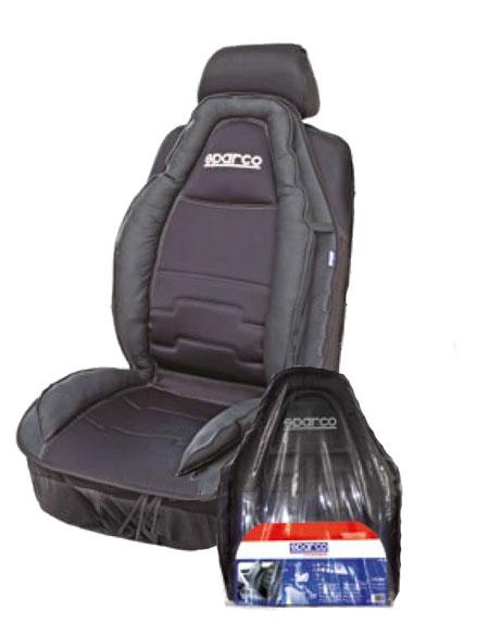 Накидка на сиденье Sparco, экокожа, полиэстер, наполнитель: синтепон, цвет: черныйSPC/CUS-020 BKАнатомическая накидка на сиденье Sparco по контуру оснащена объемными вставками, которые поддерживают тело и ноги водителя и пассажира, придавая поездкам дополнительный комфорт. Вставки изготовлены из дышащей экокожи, а центральная часть накидки выполнена из износостойкого полиэстера, который обеспечивает продолжительный срок службы изделия. Благодаря универсальному крою накидку можно использовать на передних сиденьях большинства современных автомобилей. Установка не занимает много времени - на кресло накидка крепится с помощью эластичных резинок.Особенности: Использование с любыми типами сидений.Боковая поддержка ног.Боковая поддержка спины.