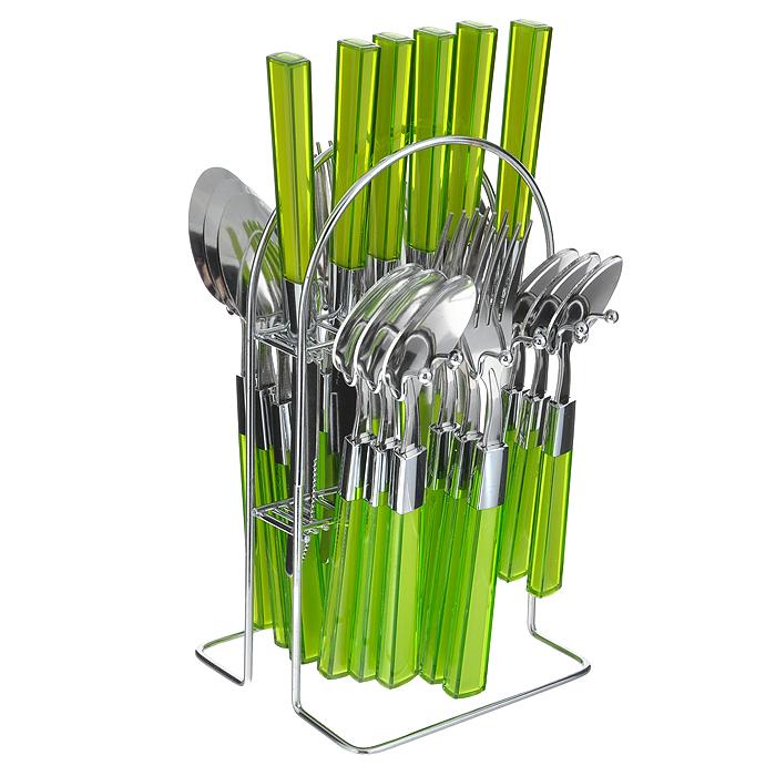 """Набор столовых приборов """"Mayer & Boch"""" выполнен из прочной полированной нержавеющей стали и высококачественного пластика. В набор входят 6 столовых ложек, 6 вилок, 6 чайных ложек и 6 ножей. Приборы имеют оригинальные удобные ручки с пластиковыми вставками салатового цвета. Прекрасное сочетание яркого дизайна и удобства использования предметов набора придется по душе каждому. Изделия расположены на металлической подставке, что удобно для хранения набора прямо на столе или столешнице.  Набор столовых приборов """"Mayer & Boch"""" подойдет как для ежедневного использования, так и для торжественных случаев.    Характеристики:  Материал: нержавеющая сталь, пластик. Цвет: салатовый. Длина ножа: 22,5 см. Длина столовой ложки: 20 см. Длина вилки: 21 см. Длина чайной ложки: 16 см. Размер подставки (ДхШхВ): 12,5 см x 12 см x 23 см. Размер упаковки: 15 см x 13,5 см x 28 см. Артикул: 20686-1 ."""