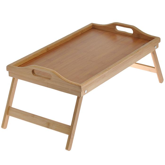 Столик сервировочный Regent Inox Bamboo, 50 см х 30 см х 6,5 см93-BM-7-01.1Сервировочный столик Regent Inox Bamboo выполнен из натурального бамбука. Прочный корпус не деформируется и не боится царапин. Столик из бамбука является отличной альтернативой тяжелым металлическим и не очень надежным пластмассовым столикам. Складные ножки позволяют быстро сделать из столика обычный поднос, а благодаря небольшим габаритам в сложенном состоянии, он не займет много места и легко разместится даже на небольшой кухне. Исключительные свойства бамбука обеспечат долговечность эксплуатации и эстетичный внешний вид.Свойства бамбука: - природные антибактериальные и водоотталкивающие свойства;- не впитывает запахи;- повышенная прочность;- износостойкость;- не рассыхается и не расслаивается.Бамбуковый сервировочный столик станет незаменимым помощником для организации чаепития или легких закусок в доме или на даче. Вы оцените его удобство в гостиной при просмотре фильма или интересной программы. Прекрасным утром побалуйте любимых завтраком в постели. Рекомендуется мыть вручную. Для мытья используйте жидкие моющие средства и мягкие губки, не содержащие абразивные частицы. Характеристики: Материал: бамбук. Размер подноса: 50 см х 30 см х 6,5 см. Высота столика: 21 см. Размер упаковки: 7 см x 30,5 см x 50 см. Артикул: 93-BM-7-01.1.