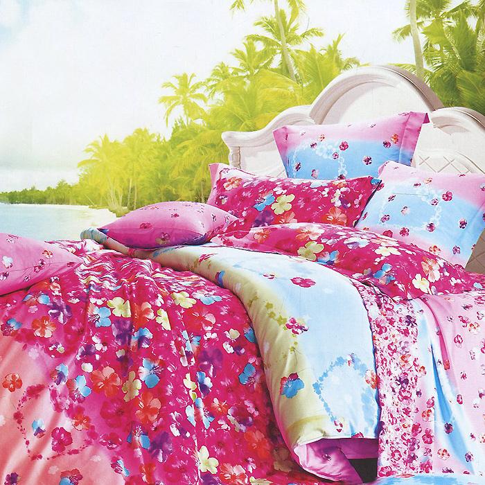 """Комплект белья """"Виконт"""" (2-х спальный КПБ, макосатин люкс, наволочки 50х70), цвет: розовый, голубой"""