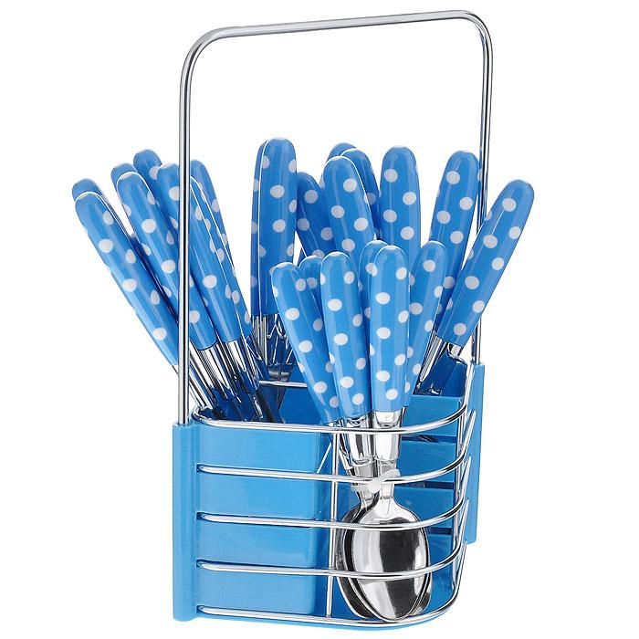 Набор столовых приборов Mayer & Boch, цвет: голубой, 25 предметов. MN23239MN23239 голубой в белый горохНабор столовых приборов Mayer & Boch выполнен из нержавеющей стали и высококачественного пластика. В набор входит 25 предмета: 6 обеденных ножей, 6 обеденных ложек, 6 обеденных вилок и 6 чайных ложек. Приборы имеют оригинальные удобные ручки с пластиковыми вставками голубого цвета в горошек. Прекрасное сочетание свежего дизайна и удобство использования предметов набора придется по душе каждому. Предметы набора расположены на металлической сетчатой подставке.Набор столовых приборов Mayer & Boch подойдет для сервировки стола, как дома, так и на даче и всегда будет важной частью трапезы, а также станет замечательным подарком. Характеристики:Материал: нержавеющая сталь, пластик. Цвет: голубой. Длина ножа: 22 см. Длина столовой ложки: 20,5 см. Длина вилки: 21 см. Длина чайной ложки: 16 см. Размер подставки: 12,5 см x 11,5 см x 24 см. Размер упаковки: 15 см x 13,5 см x 28 см. Артикул: MN23239.