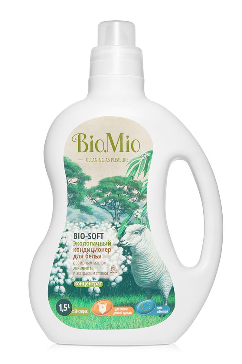 Экологичный кондиционер для белья BioMio, с эфирным маслом эвкалипта и экстрактом хлопка, 1,5 лКЭ-250Экологичный кондиционер для белья BioMio оказывает эффективное и безопасное действие на волокна ткани. Экстракт хлопка придает мягкость и нежность белью после стирки. Облегчает глажку белья и обладает антистатическим эффектом. Концентрированная формула обеспечивает экономичный расход. Безопасен для планеты. Аромат эвкалипта помогает быстро восстановиться после стресса и снять усталость.Не содержит: фосфаты, агрессивные ПАВ, SLS/SLES, ПЭГ, хлор, нефтепродукты, искусственные ароматизаторы и красители. BioMio - линейка эффективных средств для дома, использование которых приносит только удовольствие. Уборка помогает не только очистить и гармонизировать свое пространство, но и себя, свои мысли, поэтому важно ее делать с радостью. Средства, созданные с любовью и заботой, помогут в этом и идеально справятся с загрязнениями, оставаясь при этом абсолютно безопасными и экологичными. Благодаря действию натуральных эфирных масел, они поднимут настроение и подарят наслаждение, а натуральные активные компоненты бережно позаботятся о коже рук во время стирки и уборки. Средства BioMio незаменимы, если в доме есть ребенок.Уважаемые клиенты! Обращаем ваше внимание на возможные изменения в дизайне упаковки. Качественные характеристики товара остаются неизменными. Поставка осуществляется в зависимости от наличия на складе. Характеристики:Состав: 5-15% катионные ПАВ; Объем: 1,5 л. Товар сертифицирован.