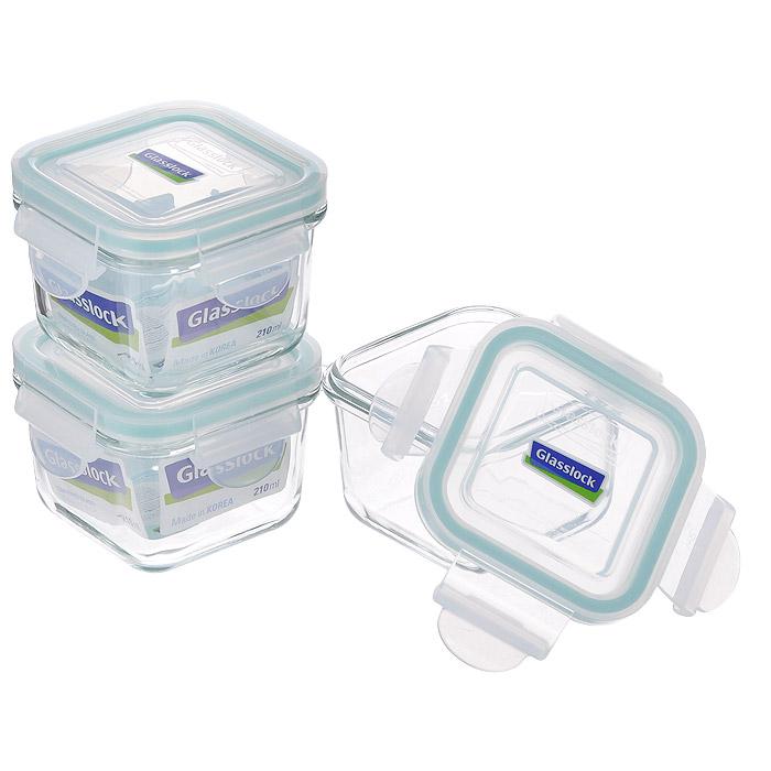 """Набор """"Glass Lock"""" состоит из трех квадратных контейнеров одного объема. Изделия выполнены из закаленного ударопрочного стекла, что гарантирует прочность и долгий срок службы. Материал изделий абсолютно экологичный и безопасный для здоровья, не содержит BPA  (бисфенола). При нагревании в микроволновой печи стекло не выделяет никаких вредных веществ.  Контейнеры оснащены пластиковыми крышками с конструкцией, обеспечивающей герметичность и долгое сохранение свежести и аромата  продуктов. Контейнеры идеально подходят для хранения и переноски продуктов, разогрева и приготовления в СВЧ-печи. Можно использовать в  качестве салатников и для сервировки пищи. Контейнеры складываются друг в друга, поэтому их легко хранить, и они не займут много места на вашей кухне.   Можно использовать в СВЧ-печи, холодильнике, посудомоечной машине и морозильной камере. Характеристики:   Материал: пластик, стекло. Комплектация: 3 шт. Объем контейнеров: 210 мл. Размер контейнеров (по верхнему краю): 8 см х 8 см. Высота стенки: 6 см. Размер упаковки: 19 см х 19 см х 9 см. Артикул: ZZ012689."""
