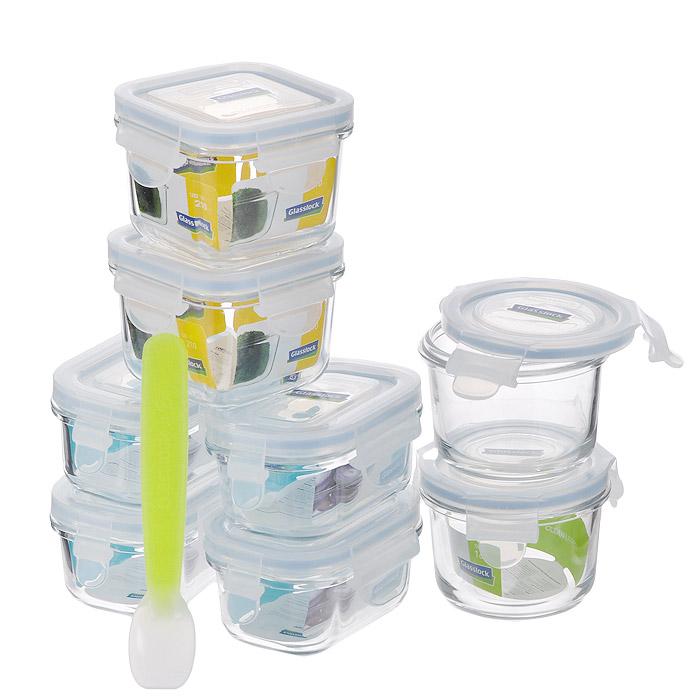 Набор контейнеров Glass Lock, цвет: голубой, 8 шт + ложечка для кормленияZZ012696Набор Glass Lock состоит из восьми контейнеров. Изделия выполнены из закаленного ударопрочного стекла, что гарантирует прочность и долгий срок службы. Материал изделий абсолютно экологичный и безопасный для здоровья, не содержит BPA (бисфенола). При нагревании в микроволновой печи стекло не выделяет никаких вредных веществ. Контейнеры оснащены пластиковыми крышками с конструкцией, обеспечивающей герметичность и долгое сохранение свежести и аромата продуктов. Контейнеры идеально подходят для хранения и переноски продуктов, в том числе жидкостей, для разогрева и приготовления в СВЧ-печи (без крышек). Благодаря своим исключительным свойствам и отсутствию вредных веществ набор Glass Lock прекрасно подойдет для детского кормления. В комплекте - силиконовая ложечка для кормления. Можно использовать в СВЧ-печи, холодильнике, посудомоечной машине и морозильной камере. Характеристики: Материал: силикон, пластик, стекло. Комплектация: 8 шт. Объем контейнера: 150 мл. Размер контейнера (ДхШхВ): 10 см х 6,5 см х 4,5 см. Объем контейнера: 165 мл. Размер контейнера (ДхШхВ): 8,5 см х 8,5 см х 6 см. Объем контейнера: 210 мл. Размер контейнера (ДхШхВ): 8 см х 8 см х 6,5 см. Длина ложечки: 14 см. Размер упаковки: 42 см х 22,5 см х 7,5 см. Артикул: ZZ012696.