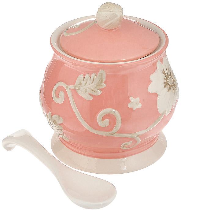 Сахарница Loraine Розы, с ложкой, цвет: розовый сахарница loraine пионы с ложкой 375 мл