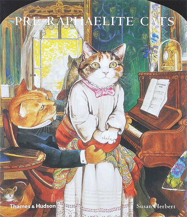 Pre-Raphaelite Cats a cat a hat and a piece of string