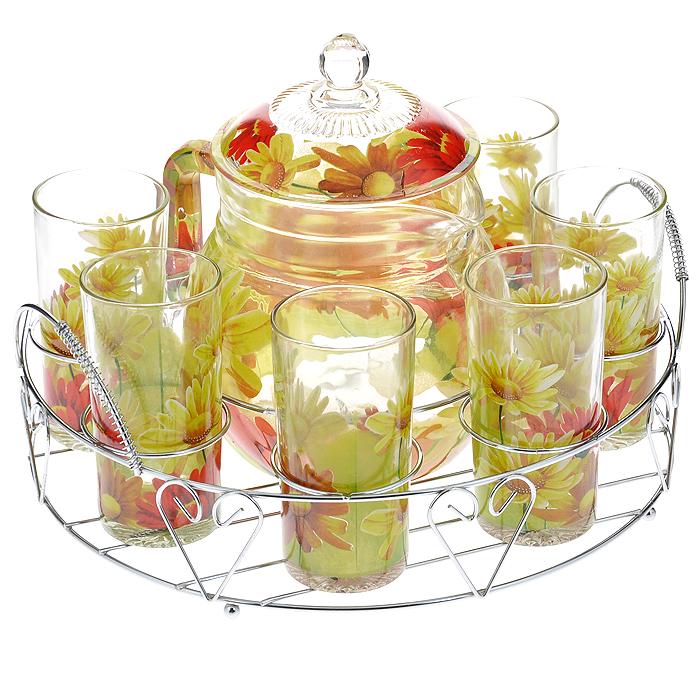 Набор для воды Bekker, 8 предметовBK-5804Набор для воды Bekker, выполненный из высококачественного стекла, состоит из шести высоких стаканов и графина с крышкой. Набор выполнен в элегантном дизайне с рисунком в виде цветов желто-красного цвета. Предметы набора располагаются на изящной металлической подставке с двумя ручками. Благодаря такому набору пить напитки будет еще вкуснее.Набор для воды Bekker украсит сервировку стола, а также станет отличным подарком на любой праздник.Предметы набора можно мыть в посудомоечной машине. Характеристики:Материал: стекло, метал. Высота стенки графина: 14 см. Диаметр графина по верхнему краю: 11,5 см. Объем графина: 1,6 л. Диаметр стакана по верхнему краю: 6 см. Высота стакана: 12 см. Объем стакана: 252 мл. Размер подставки (Д х Ш х В): 30 см х 23,5 см х 11 см. Размер упаковки: 32 см х 24 см х 16,5 см. Артикул: BK-5804.