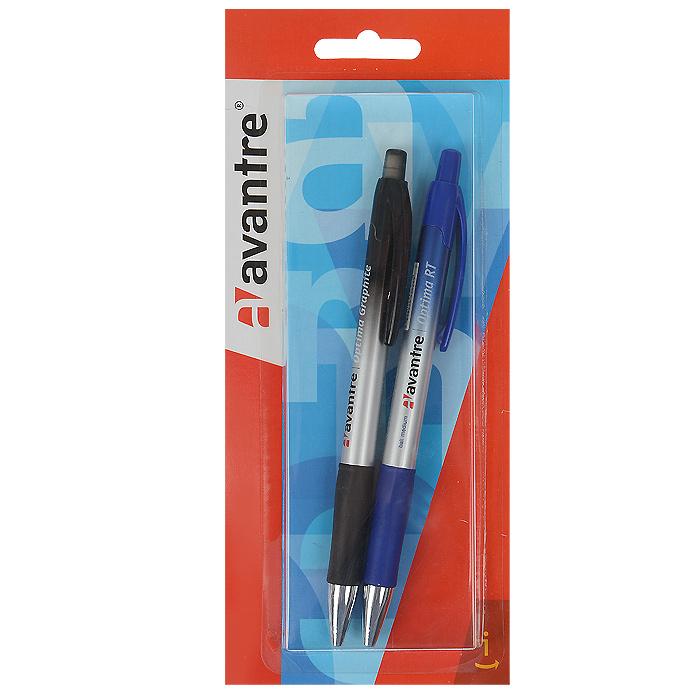 Набор ручек Avantre Optima RT, 2 предметаBP17SETКанцелярский набор Avantre Optima RT станет незаменимым аксессуаром на рабочем столе не только школьника или студента, но и офисного работника. В наборе шариковая автоматическая ручка с чернилами синего цвета и механический карандаш.Корпус ручки выполнен из пластика синего и серебристого цветов и дополнен резиновым упором в области захвата, который исключит скольжение пальцев во время работы. Высококачественные чернила позволяют добиться идеальной плавности письма. Ручка оснащена клип-зажимом. Подача стержня осуществляется путем нажатия на кнопку в верхней части ручки.Корпус карандаша выполнен из пластика черного и серебристого цветов и дополнен резиновым упором в области захвата, который исключит скольжение пальцев во время работы. Карандаш оснащен ластиком, защищенным полупрозрачным колпачком. Он всегда идеально острый - толщина его грифеля 0,5 мм. Для удобства металлический узел карандаша убирается внутрь вместе с грифелем. Avantre создает канцелярские товары и аксессуары, которые воплощаютлучшие инженерные и дизайнерские идеи, с первого взгляда привлекают внимание и приносят только положительные эмоции. Продукты Avantre быстро становятся любимыми благодаря яркому неординарному дизайну и высочайшему качеству. Характеристики: Материал: пластик, резина, металл. Длина ручки: 14,5 см. Длина карандаша: 14,5 см. Толщина линии карандаша: 0,5 мм. Размер упаковки (ДхШхВ): 9 см х 20 см х 1,5 см.