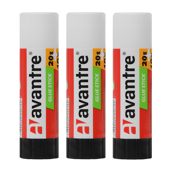 Клей-карандаш Avantre, 15 г, 3 штGLST0115BT3Клей-карандаш Avantre идеально подходит для склеивания бумаги, картона и фотографий. Выкручивающийся механизм обеспечивает постепенное выдвижение клеящего стержня из пластикового корпуса. Клей легко наносится, не деформирует поверхность, а также отстирывается от большинства тканей.Клей-карандаш экологически безопасен и не имеет запаха. Идеален для использования дома, в школе, офисе.В комплекте 3 клея-карандаша. Характеристики:Объем клея: 15 г. Размер клея-карандаша: 9 см х 2,5 см х 2,5 см.