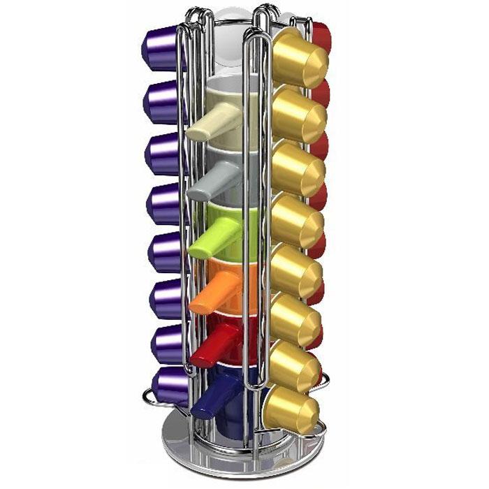 Tavola Swiss Cap/Cupstore держатель для капсул Nespresso с 6 чашками5048694Tavola Swiss Cap/Cupstore, вращающийся держатель для капсул Nespresso, изготовлен из хромированной стали иявляется идеальным аксессуаром для хранения до 32 капсул. Капсулы вставляются в направляющие, и их легкодостать, когда они вам необходимы для приготовления кофе. Держатель имеет стильный дизайн и прекрасновпишется в любой интерьер. В комплект также входят 6 разноцветных кружек для кофе, которые удобнорасполагаются в центральной части держателя.Вместимость: 32 капсулы (4 ряда по 8 капсул) Поворотное основание