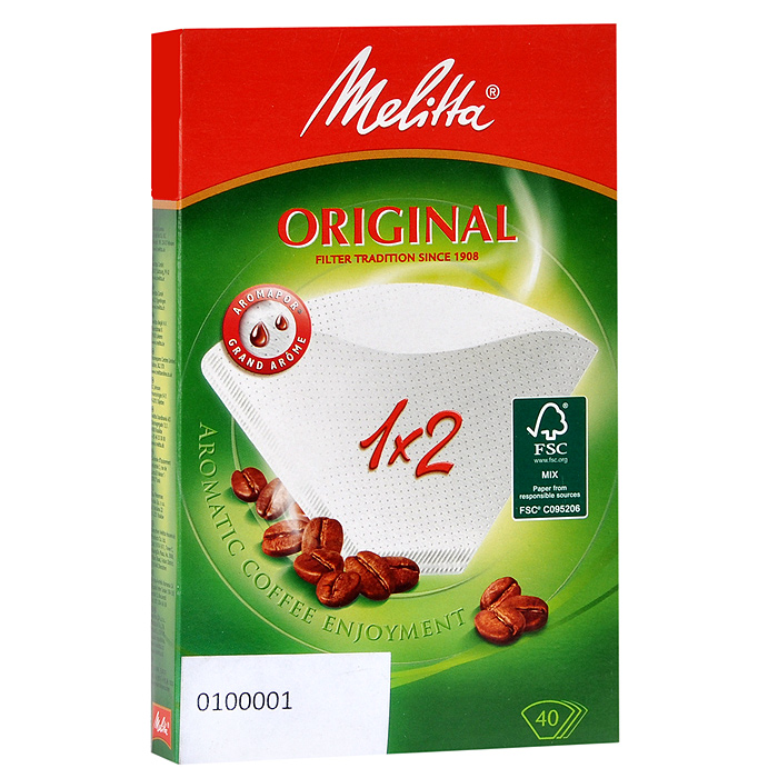 Melitta Original, White фильтры для заваривания кофе, 1х2/400100001Оригинальные бумажные фильтры Melitta Original 1x2 натурального белого цвета. Откройте для себя сбалансированный и еще более насыщенный вкус кофе с помощью бумажных фильтров для кофе Original с технологией Aromapor. Арома-поры теперь разделены на 3 арома-зоны, каждая с разным количеством перфораций. Это позволяет бумажным фильтрам для кофе Original быть частью приготовления отличного кофе.Размер: 1х2Высочайшая степень фильтрацииЧрезвычайно прочный двойной шов