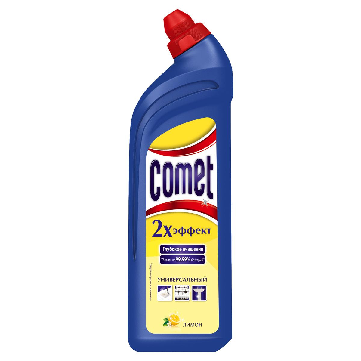 Универсальный чистящий гель Comet Двойной эффект, с ароматом лимона, 1 лCG-80227825Универсальный чистящий гель Comet Двойной эффект предназначен для глубокого очищения поверхностей. Эффективно удаляет повседневные загрязнения и обычный жир во всем доме, а также дезинфицирует поверхности. Средство подходит для плит (в том числе стеклокерамических), ванн, раковин, унитазов, кафеля, мытья полов. Обладает приятным ароматом лимона. Характеристики:Состав: Объем: 1 л. Товар сертифицирован.