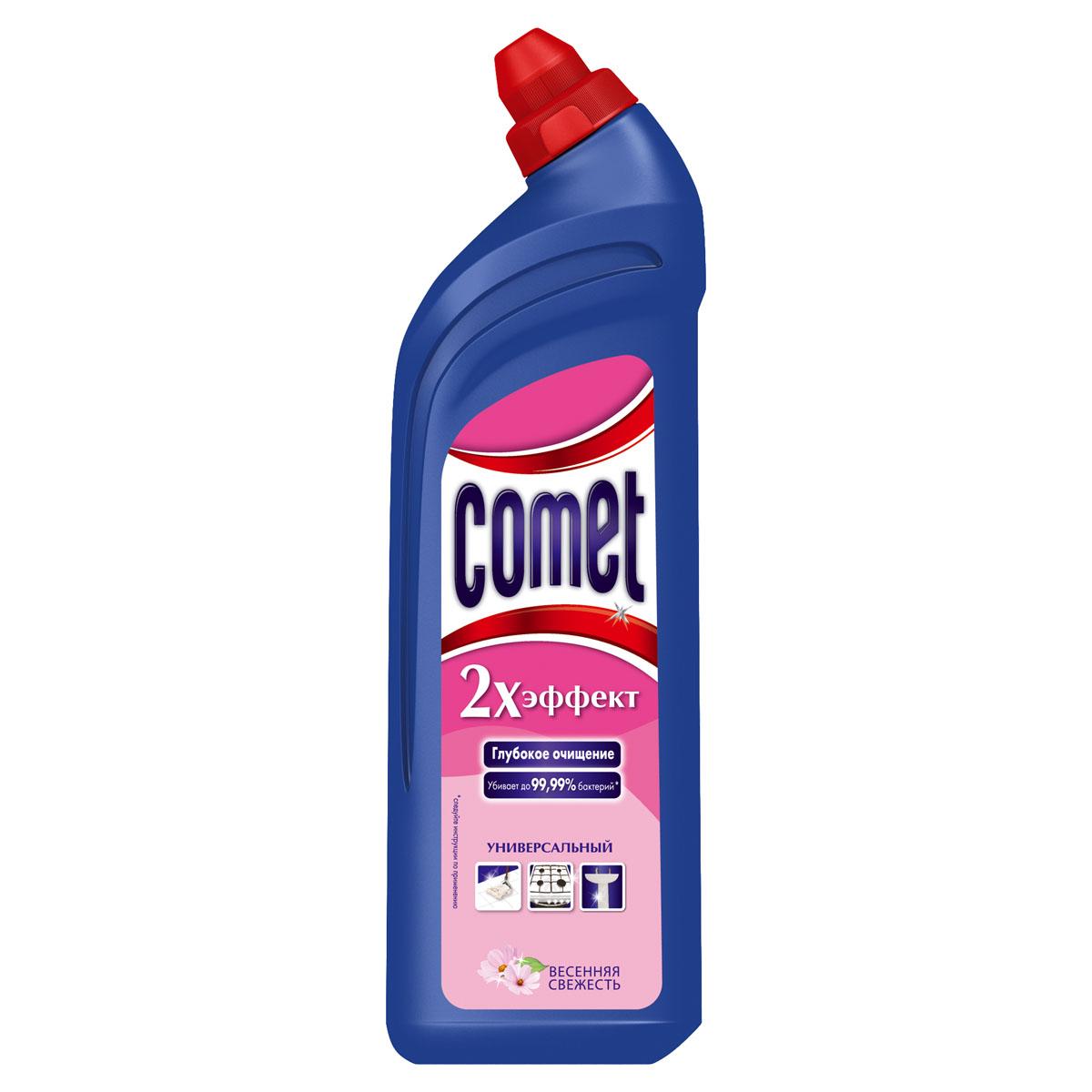 Универсальный чистящий гель Comet Двойной эффект, весенняя свежесть, 1 лCG-80227827Универсальный чистящий гель Comet Двойной эффект предназначен для глубокого очищения поверхностей. Эффективно удаляет повседневные загрязнения и обычный жир во всем доме, а также дезинфицирует поверхности. Средство подходит для плит (в том числе стеклокерамических), ванн, раковин, унитазов, кафеля, мытья полов. Обладает приятным свежим ароматом. Характеристики:Состав: Объем: 1 л. Товар сертифицирован.