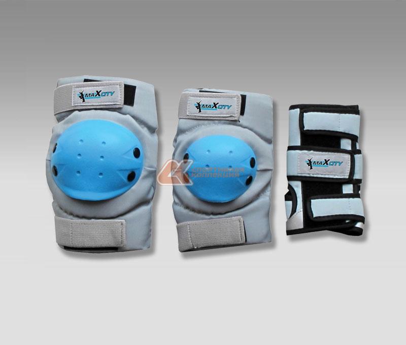 Защита роликовая MaxCity Ultra, цвет: серый, голубой. Размер M, 10-14 лет2770960391415
