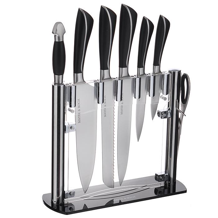 Набор ножей Mayer & Boch, 8 предметов. 2123421234Набор Mayer & Boch состоит из 5 кухонных ножей, ножниц, мусата и подставки. Лезвия ножей выполнены из высококачественной нержавеющей стали.Рукоятки ножей, выполненные из стали и пластика черного цвета, обеспечивают комфортный и легко контролируемый захват. Ножи прекрасно подходят для ежедневной резки фруктов, овощей и мяса.Компактная подставка выполнена из акрила. На дне подставки расположены резиновые ножки для предотвращения скольжения по столу.В набор входят:- Нож для очистки - маленький нож с коротким прямым лезвием. Им удобно снимать кожуру с любого фрукта и овоща.- Нож универсальный - легкий и многофункциональный нож для резки небольших овощей и фруктов, колбасы, сыра, масла. Имеет неширокое лезвие, острие сцентрировано.- Нож разделочный - нож с длинным, не широким, но достаточно толстым лезвием и со сцентрированным острием. Используется для разделки крупных овощей (капуста, свекла, кабачок) для нарезки больших кусков сырого и вареного мяса, разделки курицы, крупной рыбы. Им нарезают арбуз, дыню и т.п.- Нож для хлеба - нож с зубчатой кромкой лезвия применяется для нарезки как свежих, так и черствых хлебобулочных изделий. При резке таким ножом мякиш изделия не нарушается. Нож применяется для резки рогаликов, булочек, бубликов и рулетов.- Нож поварской - нож с толстым, широким и длинным лезвием с центральным острием. Все это позволяет легко рубить капусту, овощи, зелень, резать замороженное мясо, рыбу и птицу.- Кухонные ножницы - инструмент для разрезания птицы или рыбы, перерезания толстых мясных сухожилий или тонких куриных косточек.- Мусат - предназначен для правки и заточки кухонных ножей.Этот набор включает все необходимое для каждодневного приготовления пищи. Стильный современный дизайн украсит интерьер вашей кухни. Характеристики: Материал: нержавеющая сталь, пластик, акрил. Общая длина поварского ножа: 33,5 см. Длина лезвия поварского ножа: 20,3 см. Общая длина разделочного ножа: 33,5 см. Длина лезвия разд